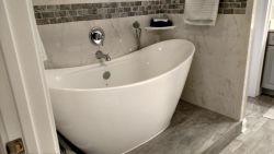 Soaking tub on tile platform