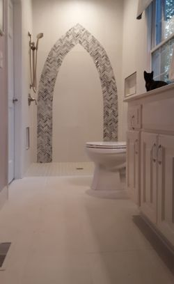Even the cat approves of this great bathroom renovation