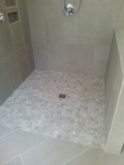 Curbless tile shower